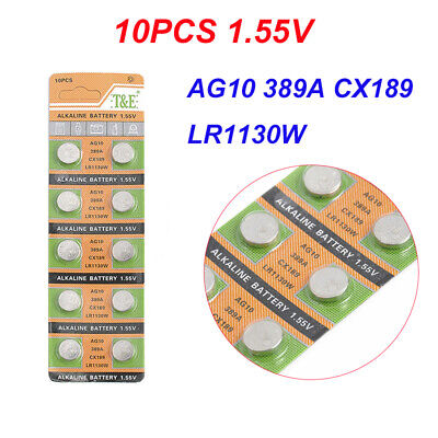 10pcs AG10 LR1130 389A CX189 Button Coin Cell Pack Alkaline Batteries Lot