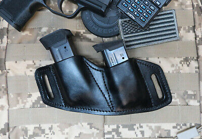 Sig P365 & Sig P365 XL Leather Combat Double Magazine Holder, OWB. Made In USA