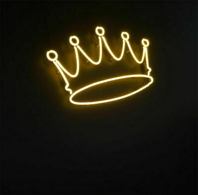 Yellow Crown Shape Neon Sign Light Beer Bar Pub Party Home Room Wall Poster Gift