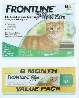 FRONTLINE Plus for Cats - 8 Month Supply - 8 Dose Value Pack ( OVER 1.5 lbs)