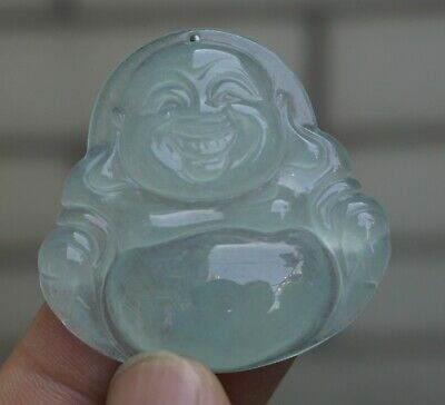 Chinese Exquisit Hand-carved Carving Happy Buddha  Icy Jadeite jade Pendant