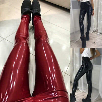 0a2f21717ae56 Women Push Up Faux Leather Leggings High Waist Pants Wet Look Slim Trousers