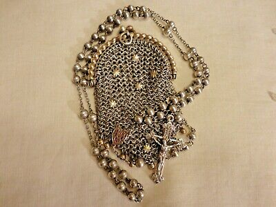 ANTIQUE Solid Silver ROSARY Victorian Sterling Silver Signed Mesh Purse Vintage