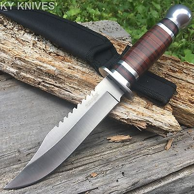 "SURVIVOR 12"" Stainless Skinning Hunting Knife Wood Handle Bowie HK-781L D"