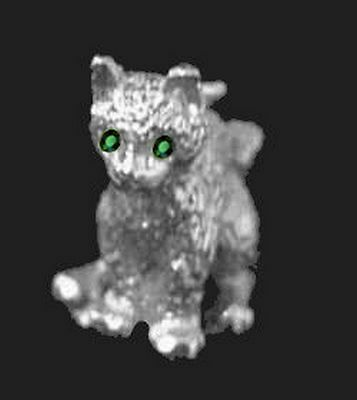 COOL 3D Adorable Cat kitten Emerald eyes Pendant Charm Sterling Silver .925 Jewe