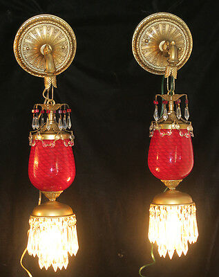 PR Sconce lamp Faberge Egg Insp Vintage Murano Ruby Red Glass Brass tole crystal