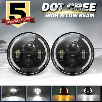 """DOT 7"""" in Round LED Headlights Halo Angle Eyes For Super Beetle Cabriolet Rabbit"""