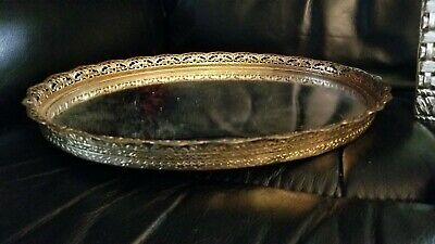 Vintage Gold Tone Filigree Vanity Mirror, Lipstick Tray W/ Mirror & Angels & Box