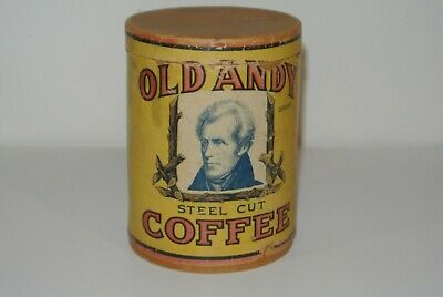 RARE Antique Cardboard Can OLD ANDY COFFEE 1lb w/lid Andrew Jackson St. Louis MO