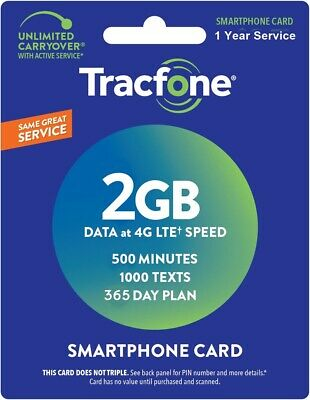 TracFone Smartphone Refill 1 Year  500 Minutes / 1000 Text / 2GB Data
