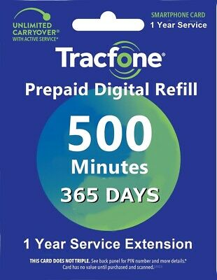 TracFone 1 Year 365 Days Service Digital Refill 500 Minutes No Basic Phones
