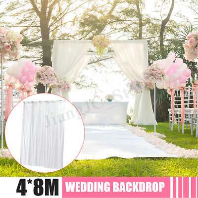 White Wedding Party Backdrop Curtain Drape Stage Background Decor Studio 4 Sizes