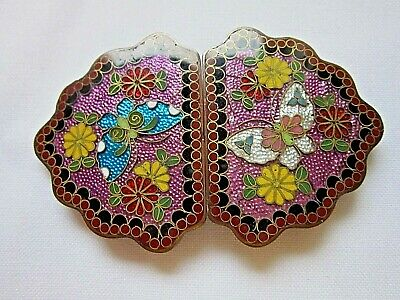 Beautiful antique Meiji period Japanese cloisonne buckle, ex. condition