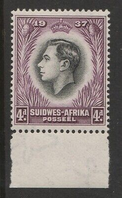 SOUTH WEST AFRICA NAMIBIA KGVI CORONATION 4d IMPRINT BLOCK WITH RE-ENTRY VARIETY