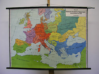 Schulwandkarte Old Wall Map Map Medieval German Reich 101x75cm ~ 1958
