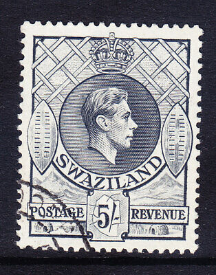 SWAZILAND George VI 1938 SG37 5/- grey - P131/2x13 - very fine used. Cat £20