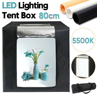 Portable 80CM LED Light Tent Cube Lighting Room Photo Studio Soft Box Backdrop