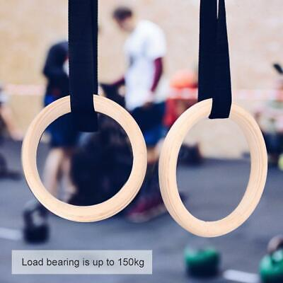 Wood Gym Gymnastic Olympic Rings with Buckle Straps Strength Training Fitness