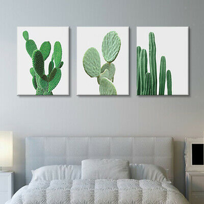 Set of 3 Canvas Cactus Plants Wall Art Poster Nordic Home Decor Picture Painting
