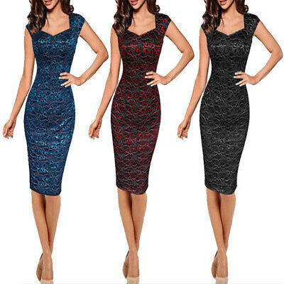 Womens Plus Size Sexy Lace Solid V-Neck Slim Cocktail Party Elegant Pencil Dress