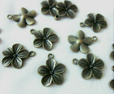 10 Antique Bronze Coloured Flower Charms 23mm x 19mm #ch3292 Jewellery Making
