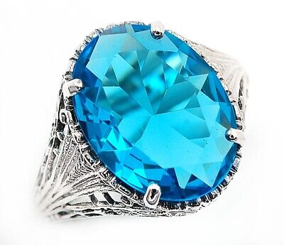 10CT Blue Topaz 925 Solid Sterling Silver Art Deco Style Ring Jewelry Sz 7, FL2