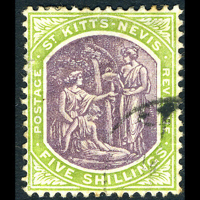 ST KITTS NEVIS 1905-18 5s Dull Purple & Sage Green. SG 21. Used. Tone. (CA280)
