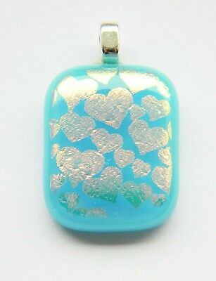Genuine Hand Crafted Petite Dichroic Glass Pendant - Turquoise Hearts