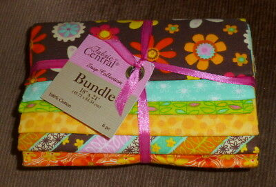 Fabric Central Snap Bundle 100% cotton fabric 6 fat quarters brown yellow green