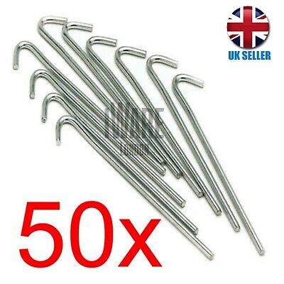 "50 X Heavy Duty Galvanised 9"" Steel Tent Pegs Metal Camping High Quality New"
