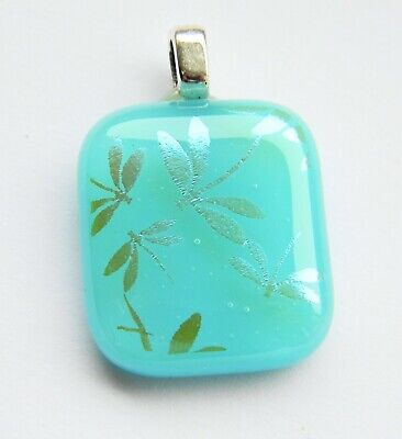 Genuine Hand Crafted Petite Dichroic Glass Pendant - Turquoise Dragonflies