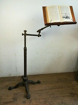 Antique adjustable Reading easel cast brass iron old library sofa