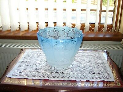 A Superb Victorian Blue Etched Oil Lamp Shade