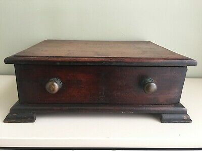 Antique Wood Mahogany Table/Desk-Top Small Single Drawer Apprentice Chest 34cm