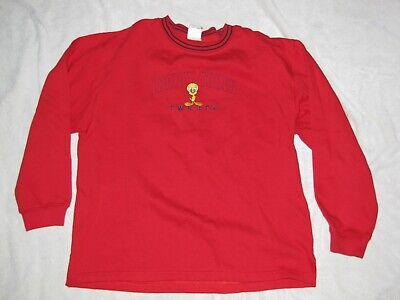 Looney Tunes 2001 Freeze Red Tweety Bird Embroidered Ringer Sweatshirt L Large