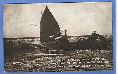 Early 1909 Blackpool Rnli Lifeboat Southport St Annes Disaster 1886 Postcard