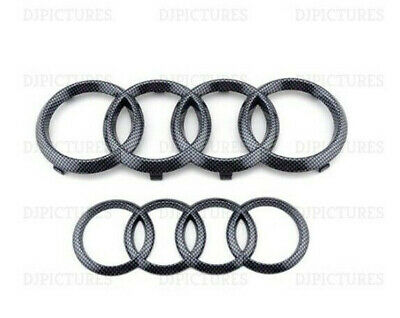 Audi Carbon Fibre Front Rear Grille Bonnet Badge Rings A1 A3 A4 A5 A6 RS3 273mm