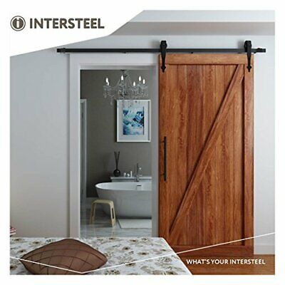 Intersteel Basic Matt nero Porta scorrevole sistema per Barn Wood Door, ne (VRE)