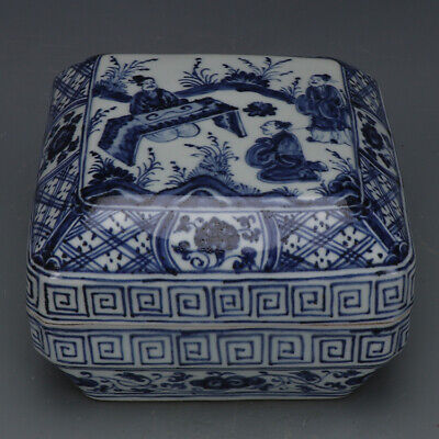 China antique Porcelain Ming xuande blue white hand painting kongzi Fruit box