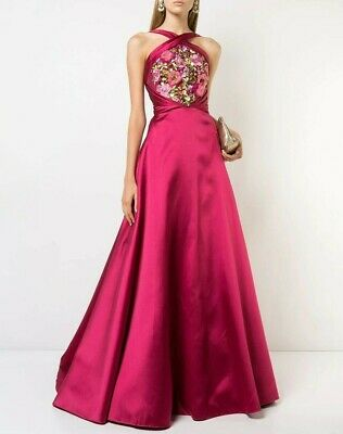 1295 New Marchesa Notte Flower Embroidered Mikado Gown