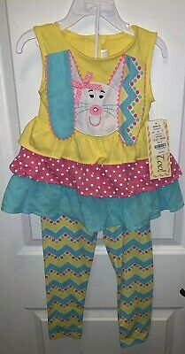 NEW Rare Too Toddler Girl 2 Piece Set Outfit Bunny Top & Knit Pants Size 4t