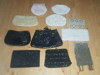 lot of 11 vintage / antique / old BEADED HANDBAGS clutch shoulder pearl sequin