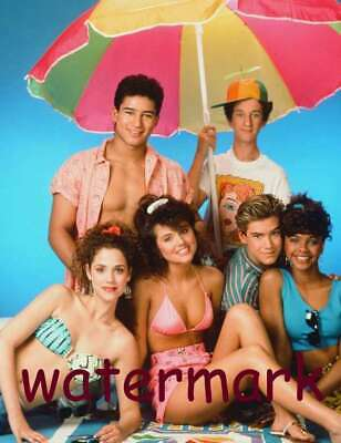 Saved By The Bell 80's-90's Tv Show Full Cast W/ Beach Umbrella Publicity Photo