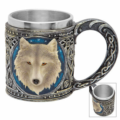Call of the Wild Fantasy 3D Wolf 12-oz Coffee Mug Tankard Dire Celtic Medieval