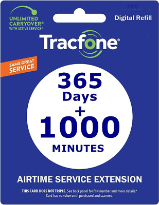TracFone 1 Year 365 Days Service Card Prepaid Digital Refill + 1000 Minutes