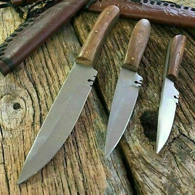 3PC ASSORTED Patch Knife Fixed Blade Hunting Knife Leather Sheaths Full TANG-MON