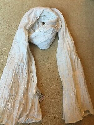 Girls *NEXT* White With Silver Thread Crinkle Scarf In Excellent Condition