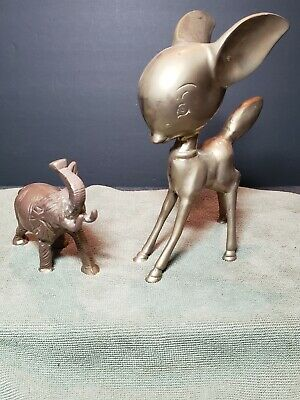 2 Vintage Brass Figurines Elephant Deer Fawn