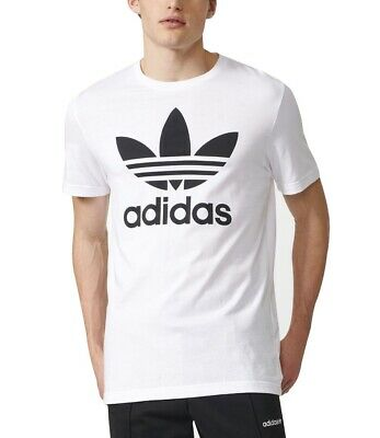Men's New Adidas Originals Trefoil Logo T-Shirt Top - White - Retro Vintage