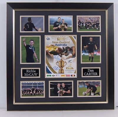 Dan Carter & Richie McCaw SIGNED & Framed RUGBY WORLD CUP PROGRAMME
